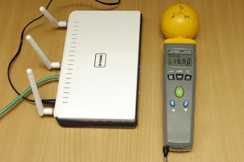 Измеритель уровня электромагнитного фона АТТ-2592 - Измерение напряженности электрического поля Wi-Fi роутера